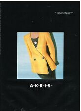 Publicité Advertising 1992 Haute Couture Veste AKRIS