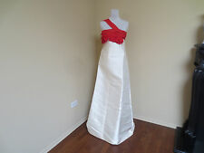 NWT BALENCIAGA. EDITION CREAM CHAMPAGNE RED SILK LONG DRESS EVENING GOWN 38