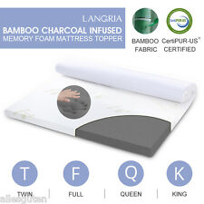 "3"" Queen Size Bamboo Charcoal Infused Memory Foam Mattress Bed Topper w/Cover"
