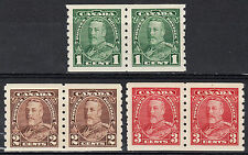 Canada KGV Pictorial Coil Pairs, Scott 228-230, VF MH, catalogue - $130