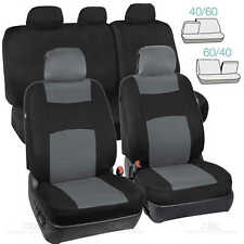 Gray / Black  Seat Cover Set for Car Auto SUV Polyester Cloth 60/40 Split Bench