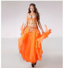 D002 Belly Dance Costume Outfit Set Bra Belt Carnival Bollywood B & D CUP 3PCS