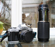 MINOLTA X-300 SLR Camera Kit with MD fit Rokkor 28mm 2.8 lens and a 75-300 Zoom