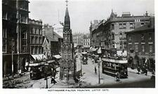 Walter Fountain Lister Gate Nottingham Tram RP old postcard by Ruddock used 1909