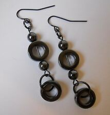 Charcoal Grey Hematite Circle Earrings Beaded Gun Metal Handmade Pierced Hoop