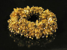 Vintage MIRIAM HASKELL SIGNED RUSSIAN GOLD GILT DANGLE CLUSTER BRACELET