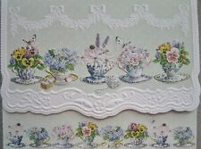 Carol Wilson Stationery 10 Note Cards Envelopes Blank Floral Tea Cups Teacups