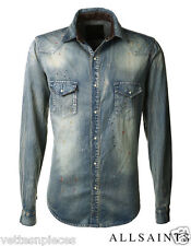 Allsaints Men's Spitalfields Painted Blue Slim Fit Denim Jean Shirt, Size S RARE