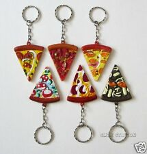 12 Pizza Slice Keychains Kid Party Goody Loot Bag Filler Favor Supply