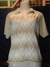 Women's villager Liz Claiborne Size L Multi color Argyle SS Polo Shirt EUC
