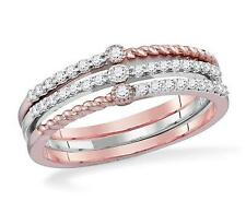 100% 10K White & Rose Gold White Diamond 3 Ring Stackable Combination Set .25ct