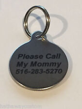 Custom Personalized Engraved Stainless Steel Circle Dog Tag Cat Tag Pet ID Name