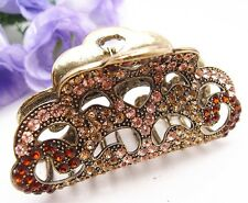 Elegant Large Brown Durable Alloy Metal Crystal Hair Claws Clips Fashion Jewelry