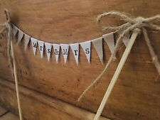 "Jute Vintage Country ""MRS&MRS"" Fabric 1 Tier Bunting Cake Topper wedding"