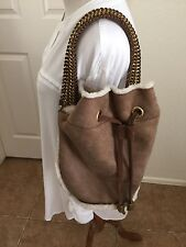 Tory Burch Genuine Shearling                Drawstring Suede Fur Hand Bag Sand