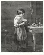 The Little Housekeeper  - Young Girl - Kitchen  - Original Antique Print  - 1873