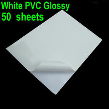 50 Sheets A4 Glossy & White PVC Vinyl Sticker Waterproof  ONLY For Laser Printer