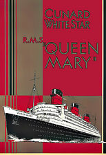 Art Ad Cunard White Star Queen Mary Travel  Deco  Poster Print
