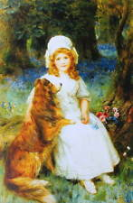 George Sheridan Knowles Girl with Flowers and  Collie dog