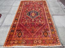 Old Hand Made Traditional Persian Oriental Wool Red Orange Large Rug 245x140cm