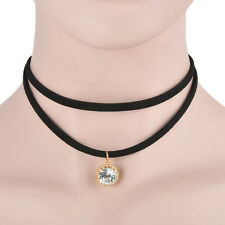 Black Retro Tattoo Choker Flower Boho Lace Gothic Punk Collar Necklace Pendant #