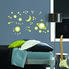 SPACE STARS 46 BiG Wall Stickers Glow in the Dark PLANETS Decor Decals MOON BR1