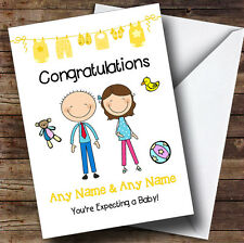 Brunette Mum To Be Congratulations Expecting A Baby Personalised Pregnancy Card