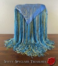 Stunning Chinese Silk Piano Scarf Spectacular Long Braided Three Color Fringe