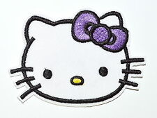Lovely Hello Kitty Purple bow-tie Patches Iron On Embroidered Appliques