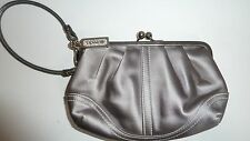 AUTH Coach Large Grey Silver Shimmer Framed Kisslock Clutch Coin Purse