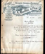 """AUZANCES (23) MATERIAUX de CONSTRUCTION & TRANSPORT """"A. MONTEL & Fils"""" en 1907"""