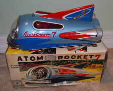 VINTAGE MID CENTURY ATOM ROCKET 7 TIN TOY W/ORIGINAL BOX BY MODERN TOYS WORKS!