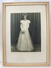 Vtg Old Framed Photo Brunette Woman Wedding Dress 40s 50s 60s Original Print