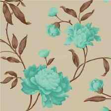 Designer TEAL  BRONZE  CHOCOLATE Floral Feature Wallpaper 14855 By Debona :)