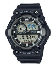 Casio Men's World Time Watch, 100M, 5 Alarms, Chronograph, Resin, AEQ200W-1AV