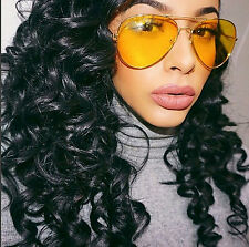Gold Aviator Sunglasses Yellow Lens Driving Pilot Classic Fashion Style