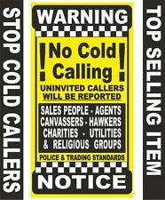 NO COLD CALLING Door Sticker-Stops Cold Callers (8.5cmx4cm) No Cold Callers Sign