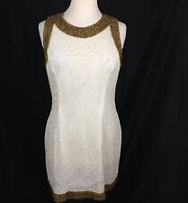 Vtg Laurence Kazar Silk Sequin Beaded Beige Gold Cocktail Dress Sheath Petite XL
