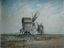 Old oil painting windmill Swedish Landscape signed