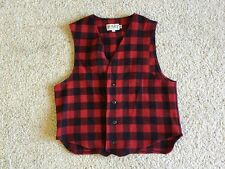 Red Black Plaid Bemidji Woolen Mills Vest XL Lumberjack