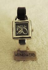 Uno De 50 Watch It's Time NWT Black Leather Band