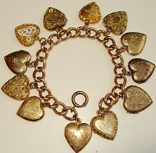 ANTIQUE VINTAGE GOLD FILL HEART CHARM & HEART LOCKETS FULL CHARM BRACELET