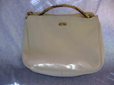 Ivory Bone Purse Plastic Lucite Handle Retro Silver Blue Branded