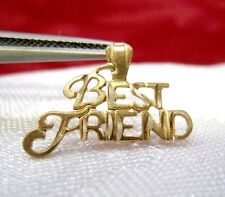 14K YELLOW GOLD BEST FRIEND ETCHED DESIGN CHARM PENDANT 0.4 GRAMS