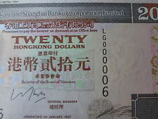 HONG KONG 1997 HSBC 20 DOLLARS, SUPERB LOW #  LG 000006
