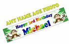 PERSONALISED BANNERS NAME AGE PHOTO BIRTHDAY monkey girl boy 1st 2nd 3rd 4th F2