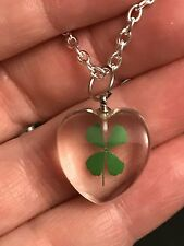 "4 Leaf Clover Shamrock Clear Small Heart Charm Tibetan Silver 18"" Necklace C40"