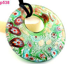 green circularity handmade Lampwork Glass beaded Pendant Necklace p538 one