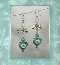 Cloisonne Heart Turquoise & Bow Charm 14k Gold Plated and Enamel Earrings 5813