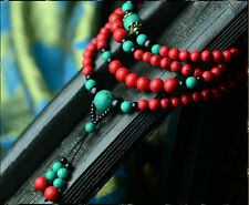 Tibet Buddhist  6mm Turquoise Red Prayer Beads Bracelet Necklaces uk